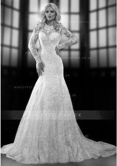 Elegant A-line Long Sleeve Beading&Sequins Lace Chapel Train Wedding Dress_2