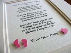 Walk With Me Daddy, Mommy Word Art. 3D Tiny Footprints & Heart. New Daddy or Mommy. Personalized. Desk Art. Keepsake. 5x7. MADE to ORDER on Etsy, $15.00