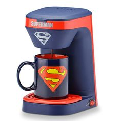 Select Brands Superman Single Serve Coffee Maker, Blue/Red/Yellow Includes a matching Superman ceramic mug Brew one cup of Coffee at a time Flip-top lid Filter basket and drip tray are removable for easy cleaning 14 ounce water reservoir On/off switch Single Coffee Maker, Single Cup Coffee Maker, Drip Coffee Maker, Coffee Cups, Logo Superman, Comic Superman, Superman Stuff, Superman Quotes, Superman Tattoos