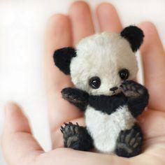 "[SOLD] ""Uwe"" little panda - OOAK 3"" / Teddy Bears & Pals / Teddy Talk: Creating, Collecting, Connecting"