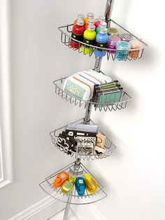 "Use a shower caddy as corner toy/art supply storage. So great for our ""useless"" corner in the school room!"