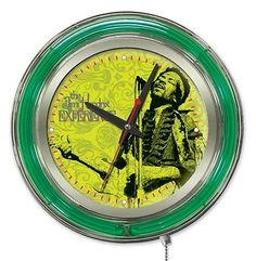 Jimi hendrix #microphone and #guitar #double neon ring logo wall clock,  View more on the LINK: 	http://www.zeppy.io/product/gb/2/302013161653/