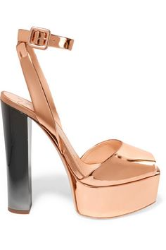 Heel measures approximately 140mm/ 5.5 inches with a 40mm/ 1.5 inches platform Bronze mirrored-leather Buckle-fastening ankle strap Made in Italy