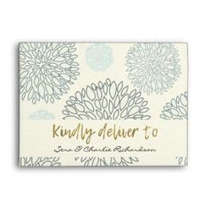 SHADES OF BLUE DAHLIA FLORAL PATTERN MONOGRAM ENVELOPE - spring wedding diy marriage customize personalize couple idea individuel