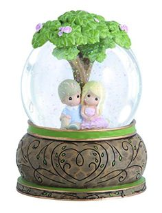 """Precious Moments, Valentine's Day Gifts, """"Couple Under Tree"""", Resin/Glass Snow Globe, Musical"""