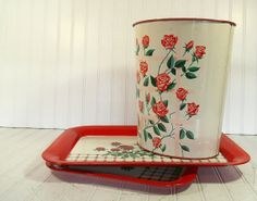 Red Floral  Metal Waste Bin and Coordinating Trays - Vintage DecoWare Set of 3 - Cottage Shabby Chic