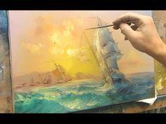 Marine oil painting. Sailboat.