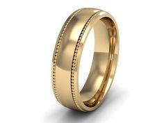 Heavy Weight 9 ct Yellow Gold Wedding Ring 4mm Wide Court Shape, Millgrain Edges with a Polished Finish.     Each piece is hand inspected before dispa
