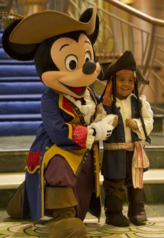 The Disney Fantasy crew is complete with Pirate Mickey Mouse, who greets guests onboard the ship.