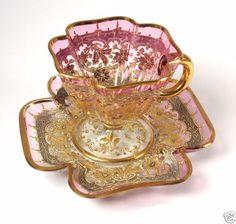 Antique-Bohemian-Czech-Moser-Glass-Teacup-and-Saucer-Cranberry-Gold-Vtg