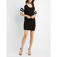 Charlotte Russe Football Stripe T-Shirt Dress ($23) ❤ liked on Polyvore featuring dresses, black combo, short-sleeve shift dresses, v neck t shirt dress, striped shift dress, charlotte russe dresses and v neck shift dress