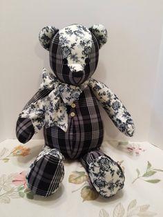 Handmade Memory Bear - Keepsake Bear - Teddy Bear from Shirts or Fabric by VKVDesigns on Etsy