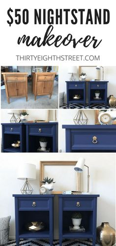 Modern Painted Nightstands With Country Chic Paint – Furniture Makeover & Furniture Design Refurbished Furniture, Repurposed Furniture, Furniture Makeover, Cool Furniture, Furniture Design, Furniture Refinishing, Street Furniture, Country Furniture, Office Furniture