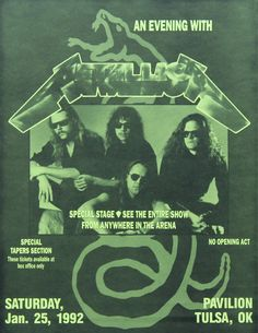 Metallica 1992 ( Black album )concert poster with Jason Newsted