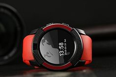 DESOCO Smartwatches Smart Watch Full Round Screen with Heart Rate Bluetooth 4.0 waterproof Smartwatch Sport Wristwatch for iOS Android iPhone 5 C 6S Plus Huawei Smartphone Samsung Edge LG (Red)   Product Description: Smart watch Like a mobile phone,makes your many many portable,Connection the bluetooth with your phon