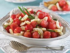 Sweet Sour Watermelon and Cucumber Salad | mrfood.com