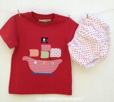 """Conjunto """"pirata"""" para niña, braguita y camiseta! Para ver más visita --> http://lascosasdehechoamano.blogspot.com.es/"""