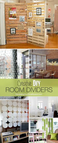 Sharing Space? • DIY Room Dividers • Ideas and Tutorials! .... I really like the pallets and windows ideas!