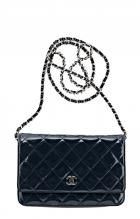 Vintage Chanel Navy Quilted Patent Wallet on a Chain