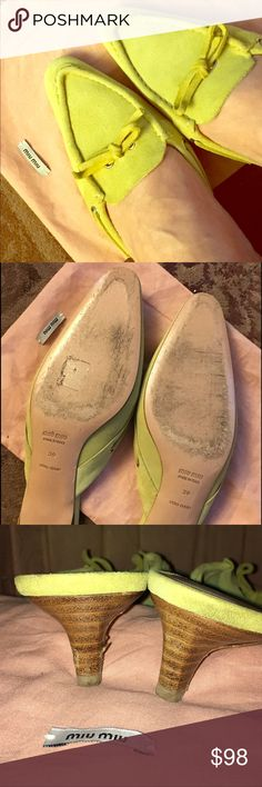 Miu Miu Pistachio Green Suede Mules Adorable kitten heel mules in excellent condition and with dust bag. Only defect is on the left heel where the wood finish was scratched (see last two pics), but bc heel is teeny tiny the scratch is not really noticeable when worn. Loved these when I purchased, but open back shoes don't seem to work for me.😕These are priced to sell!! Will consider a reasonable offer based on my reasonable offer chart or bundle to save 10%! Miu Miu Shoes
