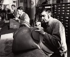 One of the Palmgrens saddlers at work in the workshop at Sibyllegatan sometime in the 1970's.