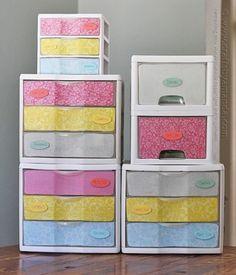 makeover plastic storage drawers