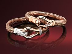 18ct rose and white gold 'Bound Gold' bangle with diamonds. 18ct rose and white gold 'Bound Gold' bangle plain