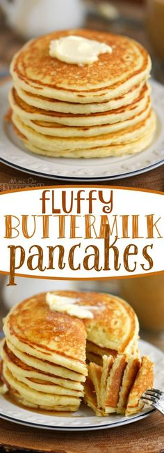 Saturdays mornings just aren't complete without a steaming stack of pancakes! Nothing compares to these easy FLUFFY BUTTERMILK PANCAKES made from scratch! // Mom On Timeout #pancakes #pancake #breakfast #brunch #recipe #momontimeout