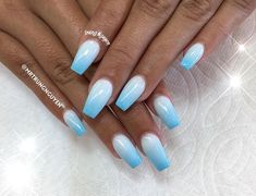 Custom nails design–ombré – My CMS Blue Ombre Nails, Light Blue Nails, Blue Acrylic Nails, Summer Acrylic Nails, Glitter Nails, Summer Nails, Blue Nails With Glitter, Blue Shellac Nails, Blue And White Nails