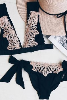 Contrast Lace High Cut Plunge Bikini Set