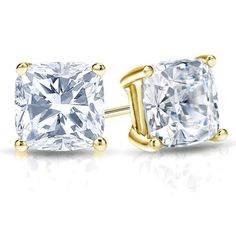 GIA Certified Cushion-Cut Diamond Stud Earrings-18k Yellow Gold 4-Prong Basket #Stud
