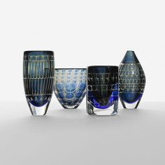 Ingeborg Lundin collection of four Ariel vases Orrefors Sweden, c. 1960 glass 5 dia x 9.25 h inches Incised signature to underside of each example: [Orrefors Ariel Nr. Ingeborg Lundin].