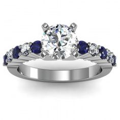 Round Diamond & Blue Sapphire Engagement Ring set in 18k White Gold  In stockSKU: S1008-BS-18W