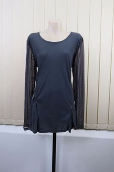 Size XL  16 Ladies Grey Top Tunic Mesh Sleeves Casual Office Work Cocktail Style  | eBay