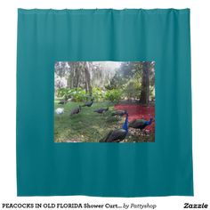 PEACOCKS IN OLD FLORIDA Shower Curtain