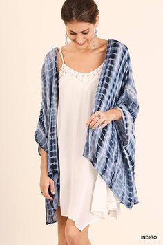 TIE DYE KIMONO Tie Dye Kimono with Crochet Details Boho