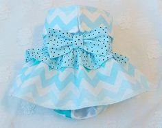 Female Dog Diaper Skirt  Perfect for your dog in Season and House Training Blue Chevron and Dots