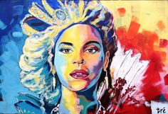 "Beyoncé Knowles | 24""x36""x2"" | Acrylic on canvas | trescreations.weebly.com"