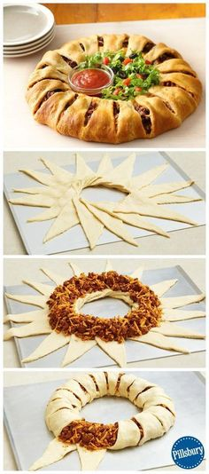 Crescent Ring Impress your guest on Game Day with this Crescent Taco Ring! It's a fun new twist on a classic that everyone will eat up. Add fresh lettuce and salsa to make it complete.Salsa Salsa usually refers to: Salsa or SALSA may also refer to: I Love Food, Good Food, Yummy Food, Tasty, Appetizer Recipes, Dinner Recipes, Party Recipes, Dip Recipes, Cheese Recipes