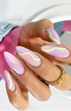 Summer Acrylic Nails, Pastel Nails, Best Acrylic Nails, Spring Nails, Summer Stiletto Nails, Nail Summer, Bright Nails, Summer Nail Colors, Coffin Nails Designs Summer