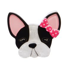"""Erstwilder Limited Edition Felicia the Frenchie Brooch. """"Felicia is rather fussy, occasionally flighty and a little bit fragile but always totally fabulous! Quirky Gifts, Brooches Handmade, Resin Jewelry, Jewellery, Felicia, Necklace Designs, Minnie Mouse, Jewelry Design, Kitty"""