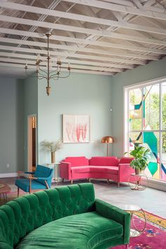 THE FIG HOUSE LOUNGE by Emily Enderson. Here she uses Farrow & Ball's classic mint, Teresa's Green, to create a lovely Art Deco inspired lounge. Decor, Green Sofa, Pink Sofa, Furniture, Interior Design, Home Decor, House Interior, Living Spaces, Room Decor