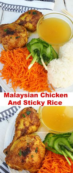 Crispy Malaysian Chicken and Sticky Rice served with a simple, quick dipping sauce and fresh vegetables make a delicious family friendly and healthy dinner #MalaysianChicken #Chicken #CompleteMeal #StickyRice #DippingSauce