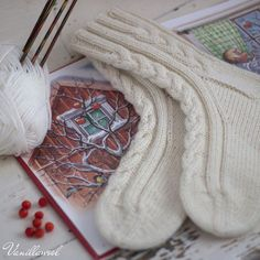 These thick woolen socks are great to wear around the home instead of slippers during cold season. Woolen Socks, Knitting Socks, Knit Socks, One Color, Ravelry, Christmas Stockings, Knit Crochet, Knitting Patterns, Slippers