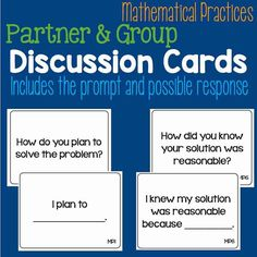 Mathematic Practice discussion cards that help students ask good math questions and provide a sentence frame to help students respond in complete sentences.  Perfect for partners or small groups.  Copy each standard on different colored paper to guide students to a certain set of questions.