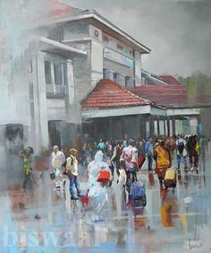 Bijay Biswaal -In  this and many other paintings in water color  the master painter gives expression to his fascination for rain and wetness