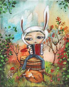 "Bunny Accordion Player with Fox - 8 x 10 Pop Surrealism ""Fauna"" Print - by Heather Renaux-unframed by heatherrenaux on Etsy"