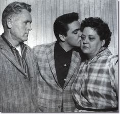 Elvis Presley, his dad, Vernon and mom Gladys