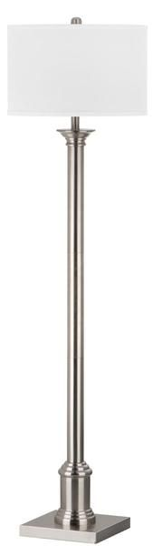 Livia Floor Lamp in Nickel with White Shade
