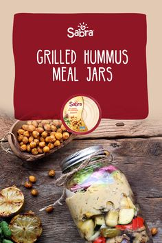 Perfect for a lunch-to-go, these Grilled Hummus Meal Jars are bursting with summertime flavours and a kick from perfectly plant-forward Salsa Verde Hummus. Mason Jar Meals, Meals In A Jar, One Pot Meals, Salsa Verde, Side Dish Recipes, Veggie Recipes, Vegetarian Recipes, Healthy Recipes, Hummus